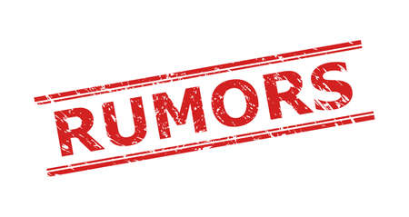 Red RUMORS stamp seal on a white background. Flat vector scratched seal stamp with RUMORS title inside double parallel lines. Imprint with scratched style. Ilustracja