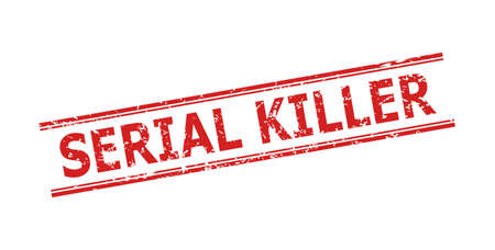 Red SERIAL KILLER seal stamp on a white background. Flat vector distress seal stamp with SERIAL KILLER caption between double parallel lines. Imprint with distress surface.