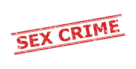 Red SEX CRIME stamp seal on a white background. Flat vector distress seal stamp with SEX CRIME text between double parallel lines. Watermark with unclean style.