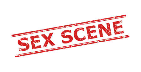 Red SEX SCENE seal stamp on a white background. Flat vector grunge seal stamp with SEX SCENE title inside double parallel lines. Watermark with grunged style.