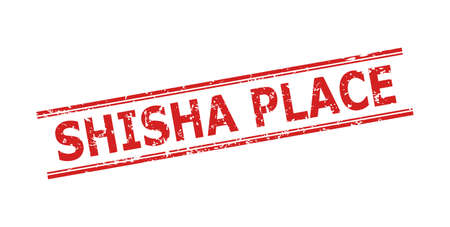 Red SHISHA PLACE seal on a white background. Flat vector textured seal stamp with SHISHA PLACE message between double parallel lines. Rubber imitation with unclean style.