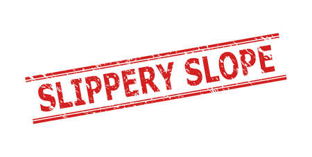 Red SLIPPERY SLOPE watermark on a white background. Flat vector scratched watermark with SLIPPERY SLOPE text inside double parallel lines. Watermark with grunged texture.