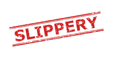 Red SLIPPERY seal stamp on a white background. Flat vector scratched seal stamp with SLIPPERY caption between double parallel lines. Watermark with distress texture.
