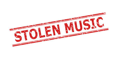 Red STOLEN MUSIC seal stamp on a white background. Flat vector distress stamp with STOLEN MUSIC phrase between double parallel lines. Imprint with distress surface.