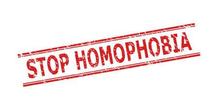 Red STOP HOMOPHOBIA stamp seal on a white background. Flat vector distress seal stamp with STOP HOMOPHOBIA title inside double parallel lines. Rubber imitation with corroded style.