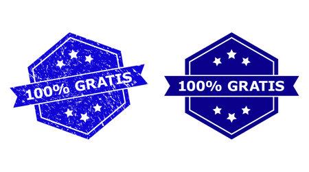 Hexagon 100% GRATIS watermark on a white background, with undamaged version. Flat vector blue grunge watermark with 100% GRATIS message inside hexagon form, ribbon is used. Ilustração