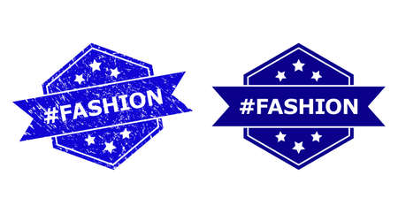 Hexagon #FASHION seal on a white background, with undamaged variant. Flat vector blue grunge seal with #FASHION text inside hexagon shape, ribbon used. Imprint with scratched texture.