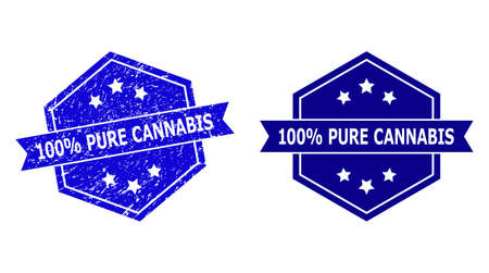 Hexagon 100% PURE CANNABIS seal stamp on a white background, with undamaged version. Flat vector blue grunge seal with 100% PURE CANNABIS caption inside hexagon shape, ribbon is used.