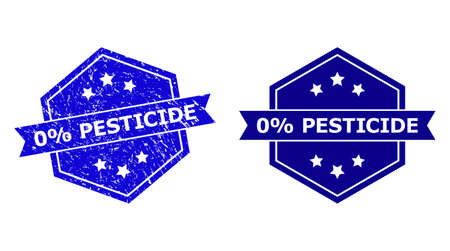 Hexagon 0% PESTICIDE stamp seal on a white background, with undamaged variant. Flat vector blue distress seal stamp with 0% PESTICIDE title inside hexagoanl form, ribbon used.