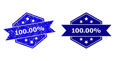 Hexagon 100.00% seal stamp on a white background, with clean version. Flat vector blue scratched watermark with 100.00% caption inside hexagon form, ribbon is used also.