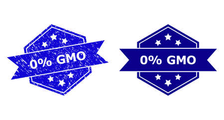 Hexagon 0% GMO stamp on a white background, with undamaged variant. Flat vector blue grunge watermark with 0% GMO caption inside hexagon form, ribbon is used. Watermark with corroded style.