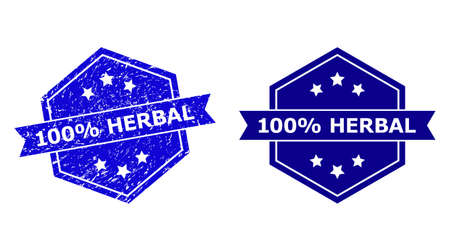 Hexagon 100% HERBAL stamp on a white background, with original version. Flat vector blue grunge stamp with 100% HERBAL text inside hexagon shape, ribbon used. Watermark with grunge surface.