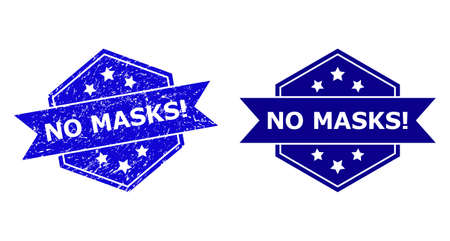 Hexagon NO MASKS! stamp seal on a white background, with undamaged version. Flat vector blue scratched stamp with NO MASKS! text inside hexagon form, ribbon used. Imprint with scratched texture.