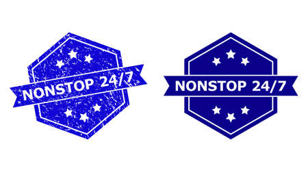 Hexagonal NONSTOP 24/7 stamp on a white background, with clean version. Flat vector blue distress seal stamp with NONSTOP 24/7 text inside hexagoanl shape, ribbon is used.