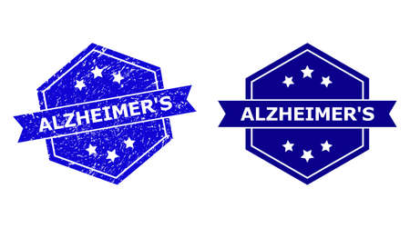 Hexagonal ALZHEIMERS stamp seal on a white background, with undamaged version. Flat vector blue grunge seal with ALZHEIMERS phrase inside hexagoanl shape, ribbon used. Watermark with grunge texture.