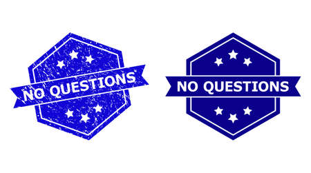 Hexagon NO QUESTIONS seal stamp on a white background, with original variant. Flat vector blue textured seal stamp with NO QUESTIONS text inside hexagon form, ribbon is used.