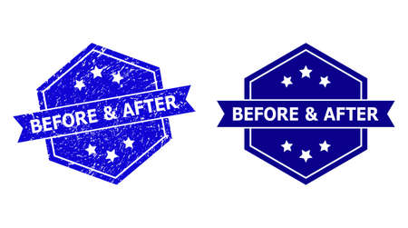 Hexagonal BEFORE & AFTER stamp seal on a white background, with source variant. Flat vector blue distress seal stamp with BEFORE & AFTER title inside hexagoanl form, ribbon used also.