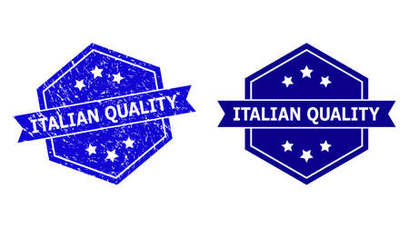 Hexagon ITALIAN QUALITY stamp seal on a white background, with clean version. Flat vector blue grunge stamp with ITALIAN QUALITY message inside hexagon form, ribbon used also.