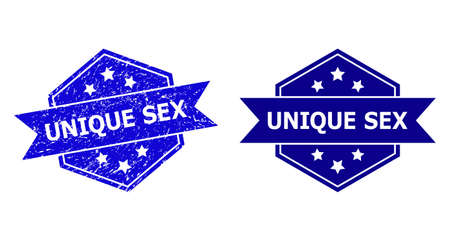 Hexagon UNIQUE SEX stamp seal on a white background, with original variant. Flat vector blue scratched seal stamp with UNIQUE SEX text inside hexagon form, ribbon is used.