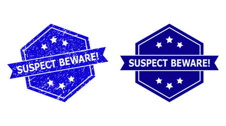 Hexagon SUSPECT BEWARE! seal stamp on a white background, with clean variant. Flat vector blue scratched seal stamp with SUSPECT BEWARE! phrase inside hexagon shape, ribbon used.