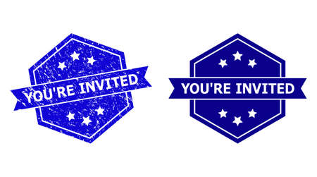 Hexagonal YOURE INVITED seal stamp on a white background, with clean version. Flat vector blue scratched seal stamp with YOURE INVITED caption inside hexagon form, ribbon is used.