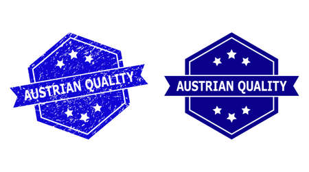Hexagonal AUSTRIAN QUALITY seal stamp on a white background, with source version. Flat vector blue scratched seal stamp with AUSTRIAN QUALITY text inside hexagon shape, ribbon used also.