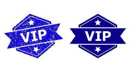 Hexagonal VIP stamp seal on a white background, with source version. Flat vector blue textured seal stamp with VIP text inside hexagon form, ribbon used. Imprint with corroded texture.