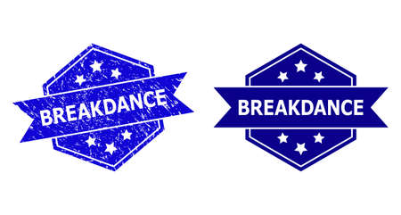 Hexagonal BREAKDANCE stamp seal on a white background, with undamaged version. Flat vector blue scratched seal stamp with BREAKDANCE message inside hexagon shape, ribbon is used.