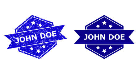 Hexagon JOHN DOE seal on a white background, with original variant. Flat vector blue distress seal with JOHN DOE caption inside hexagon shape, ribbon is used also.