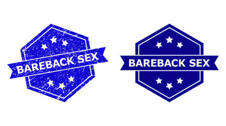 Hexagon BAREBACK SEX seal stamp on a white background, with source variant. Flat vector blue grunge seal stamp with BAREBACK SEX phrase inside hexagon shape, ribbon used.