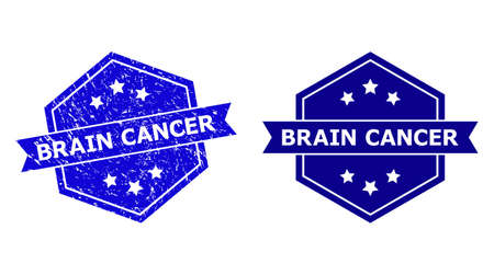 Hexagon BRAIN CANCER stamp on a white background, with original version. Flat vector blue grunge watermark with BRAIN CANCER message inside hexagoanl form, ribbon is used.