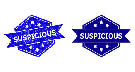 Hexagonal SUSPICIOUS stamp seal on a white background, with original variant. Flat vector blue textured seal stamp with SUSPICIOUS text inside hexagon form, ribbon used. Imprint with corroded surface.
