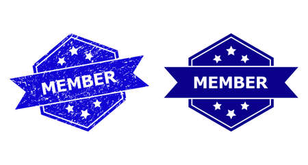 Hexagon MEMBER seal stamp on a white background, with undamaged version. Flat vector blue scratched watermark with MEMBER caption inside hexagon shape, ribbon used. Watermark with scratched style.