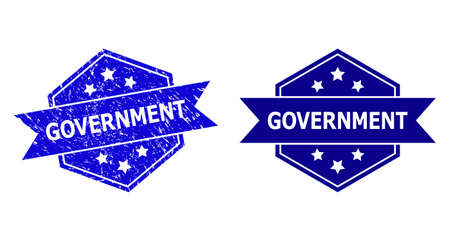 Hexagon GOVERNMENT stamp seal on a white background, with clean version. Flat vector blue grunge seal with GOVERNMENT caption inside hexagon form, ribbon used also.