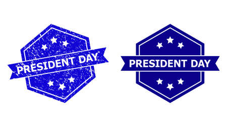 Hexagon PRESIDENT DAY seal on a white background, with source version. Flat vector blue scratched watermark with PRESIDENT DAY text inside hexagon shape, ribbon used also.