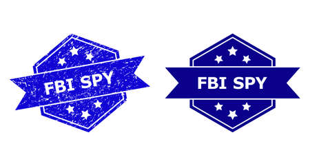 Hexagon FBI SPY seal stamp on a white background, with undamaged variant. Flat vector blue distress stamp with FBI SPY title inside hexagon form, ribbon is used also. Imprint with distress texture.