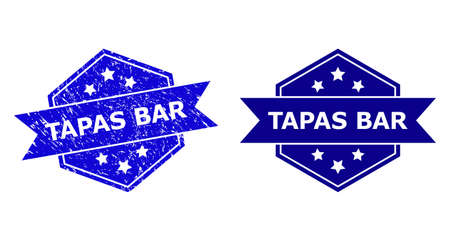 Hexagon TAPAS BAR seal stamp on a white background, with original variant. Flat vector blue grunge seal stamp with TAPAS BAR phrase inside hexagoanl form, ribbon used. Imprint with unclean surface.