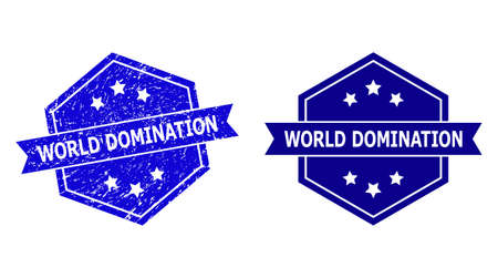 Hexagonal WORLD DOMINATION stamp seal on a white background, with original variant. Flat vector blue textured seal stamp with WORLD DOMINATION message inside hexagoanl shape, ribbon used also. Ilustración de vector