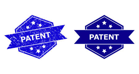 Hexagon PATENT stamp seal on a white background, with undamaged version. Flat vector blue textured seal with PATENT caption inside hexagon shape, ribbon is used. Watermark with grunge texture.