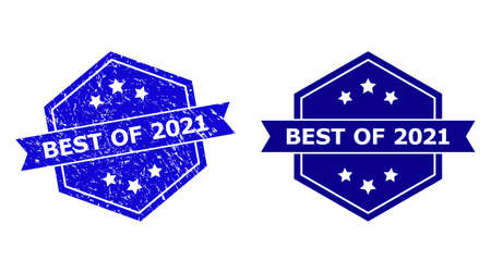 Hexagon BEST OF 2021 seal stamp on a white background, with undamaged version. Flat vector blue scratched stamp with BEST OF 2021 phrase inside hexagon shape, ribbon is used.