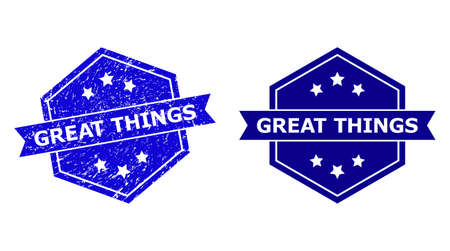 Hexagon GREAT THINGS stamp seal on a white background, with source variant. Flat vector blue grunge seal with GREAT THINGS text inside hexagon form, ribbon used also. Imprint with grunge texture.