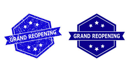 Hexagon GRAND REOPENING stamp seal on a white background, with undamaged variant. Flat vector blue distress seal stamp with GRAND REOPENING caption inside hexagon form, ribbon is used.