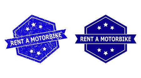 Hexagonal RENT A MOTORBIKE seal stamp on a white background, with source version. Flat vector blue scratched seal stamp with RENT A MOTORBIKE message inside hexagon form, ribbon used also.