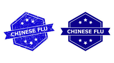 Hexagon CHINESE FLU seal stamp on a white background, with original version. Flat vector blue scratched seal with CHINESE FLU message inside hexagon form, ribbon used also.