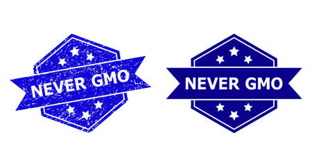 Hexagon NEVER GMO stamp seal on a white background, with undamaged version. Flat vector blue grunge seal stamp with NEVER GMO title inside hexagon shape, ribbon used.