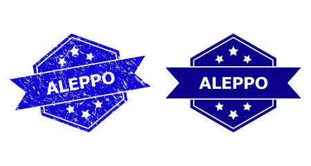 Hexagon ALEPPO watermark on a white background, with clean variant. Flat vector blue distress watermark with ALEPPO message inside hexagon shape, ribbon used. Watermark with scratched surface. Ilustración de vector