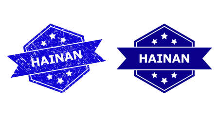 Hexagonal HAINAN watermark on a white background, with source version. Flat vector blue scratched watermark with HAINAN title inside hexagon form, ribbon used. Rubber imitation with distress style.