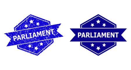 Hexagonal PARLIAMENT seal on a white background, with undamaged variant. Flat vector blue grunge seal with PARLIAMENT title inside hexagoanl form, ribbon used also. Rubber imitation with grunge style. Stock Illustratie