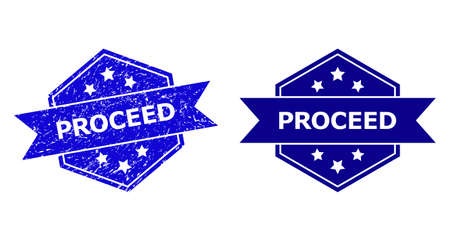 Hexagonal PROCEED stamp seal on a white background, with source variant. Flat vector blue distress seal stamp with PROCEED message inside hexagoanl shape, ribbon used also.