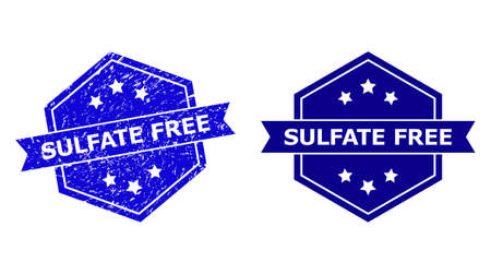Hexagon SULFATE FREE seal stamp on a white background, with undamaged variant. Flat vector blue scratched seal stamp with SULFATE FREE caption inside hexagoanl form, ribbon used.